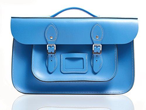 """15""""Oxford blu inglese Briefcase Satchel–�?00% Vera Pelle Oxbridge Fashion, stile borsa"""