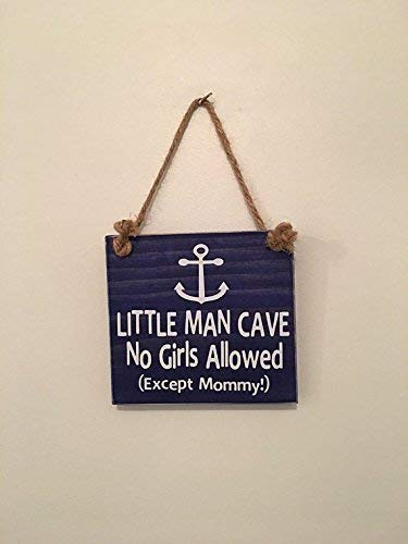 Little Man Cave No Girls Allowed Except Mommy ™ | Anchor | Nautical Nursery | Door Sign