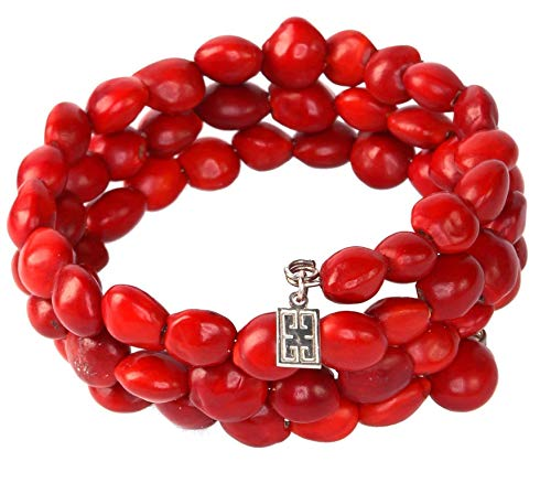 Peruvian Gift Wrap Bracelet for Women - Meaningful Good Luck, Properity, Love, Happiness Huayruro Red Seed Beads, Adjustable Wrap - Natural Handmade Ecofriendly Jewelry by Evelyn Brooks (Happiness Bead)