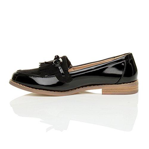 Ajvani Womens Ladies Flat Low Heel Contrast Fringe Tassel Bow Loafers Work Shoes Size Black Patent / Suede oFmfmBB