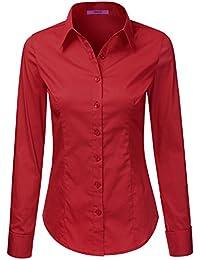 Red Button Down Shirt Womens