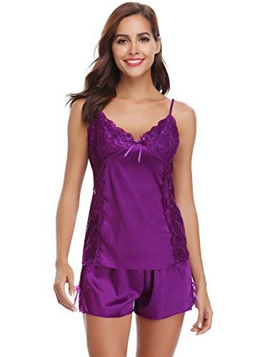 Femme Satin Vêtements De Pieces Soie Aibrou Ensemble Couleur Femmes Manche Courte Violet 2 En Nuit Pyjama Pure Été 5E1zwzqU