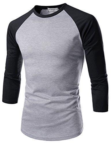(NEARKIN (NKNKR7T622) Unisex 3/4 Sleeve Round Neck Fitted Raglan T-shirts GRAYBLACK US XL(Tag size)