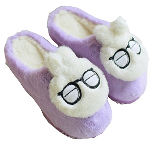 D.S.MOR Womens Rabbit Bunny Slippers Cute Warm Slippers Home Slippers Purple XrnOf