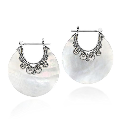 Elegant White Mother of Pearl .925 Sterling Silver Huggie Hoop Earrings