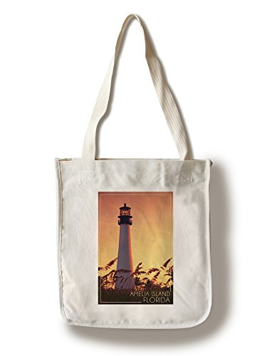 - Lantern Press Amelia Island, Florida - Lighthouse and Seagrass (100% Cotton Tote Bag - Reusable)