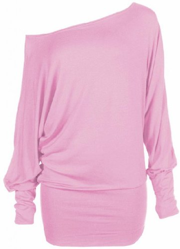 Feyer Womens Long Sleeve Off Shoulder Plain Batwing Top