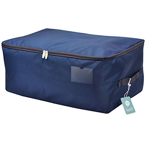 iwill CREATE PRO Under Bed Storage Bag, Closet Organizer Soft Bag, Space Saver Bag for Clothing, Duvets, Bedding, Pillows, Curtains,Navy Blue