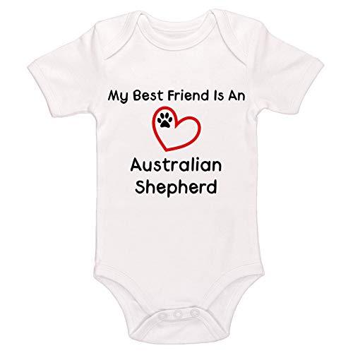 Kinacle My Best Friend is an Australian Shepherd Baby Bodysuit (0-3 Months, White) ()