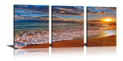 HLJ Arts Sunrise Theme 3 Panels Canvas Wall Decor Blue Skyline Sea Sunset White Beach Painting The Picture Prints Seascape For Home Decoration,Ready to Hang (Golden (Halloween Meeting Themes)