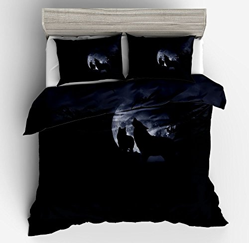 Jwellking Wolf Bedding Sets for Kids,3 Piece Queen Size Duvet Cover Set,With hide Zipper,1 Duvet Cover+2 Pillow Shams by Jwellking