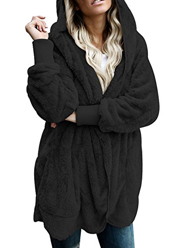 Vansha Women's Fuzzy Fleece Oversized Open Front Cardigan Hooded Jacket Outerwear Coat