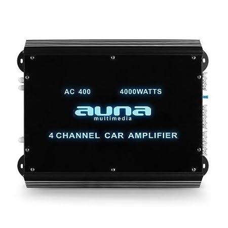 Auna w2-ac400 –  Voiture Amplificateur Audio (Noir, 50– 250 HZ) 50-250HZ) 10004930