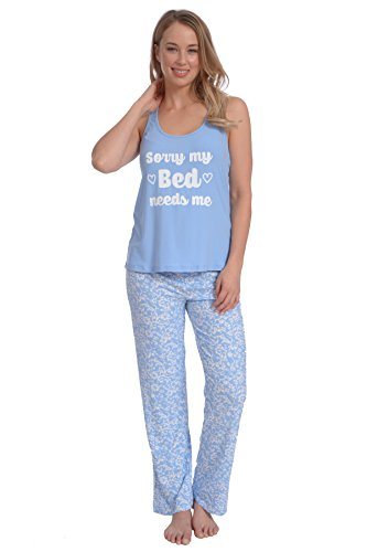 Flannel Striped Pajama Pants (Wanted Women's Lightweight Soft Stretch Print Tank Top With Pants Pajama Set (Bue, L))