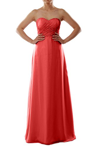 MACloth Women Strapless Lace Chiffon Long Bridesmaid Dress Evening Formal Gown Rojo