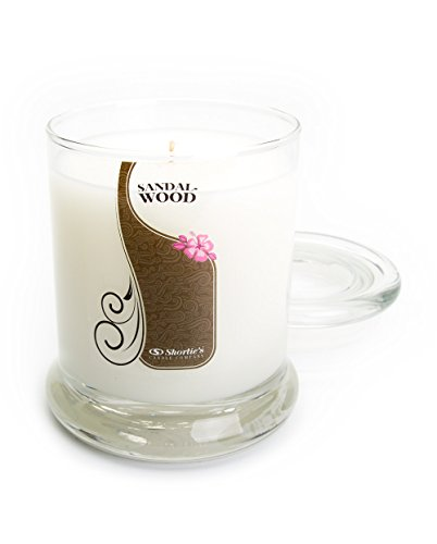 Sandalwood Scented Candle - Pure Sandalwood Candle - 10 Oz. Highly Scented White Jar Candle - Earth Candles Collection