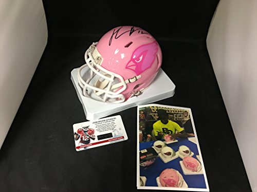 John Brown Signed Autographed Pink BCA Breast Cancer Pitt State Arizona Cardinals Mini Helmet Witnessed COA & Hologram W/Photo From Signing Autographed Pink Mini Helmet