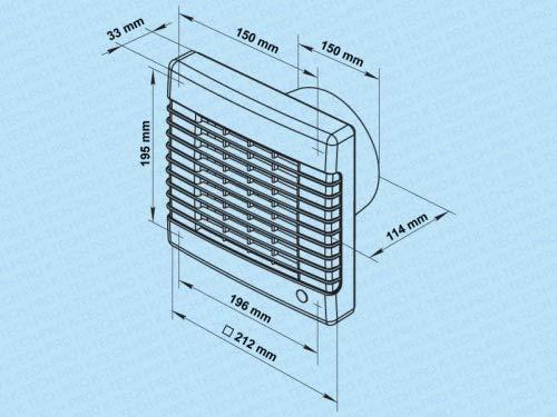 Feuchtigkeitssensor Wandventilator Abluftventilator Badezimmerl/üfter Badl/üfter Wandl/üfter Max Turbo System /Ø 100 Funktion Nachlaufrelais