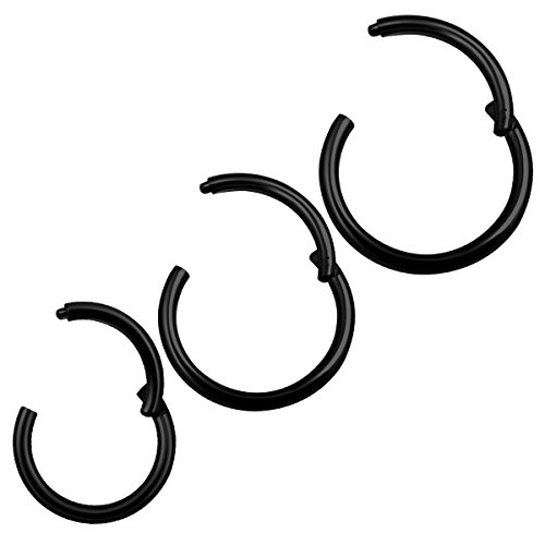 3Pcs Black Anodized 18 gauge 6mm 8mm 10mm hinged septum ring Piercing Jewelry Tragus Cartilage Cartilage Helix Septum M1002