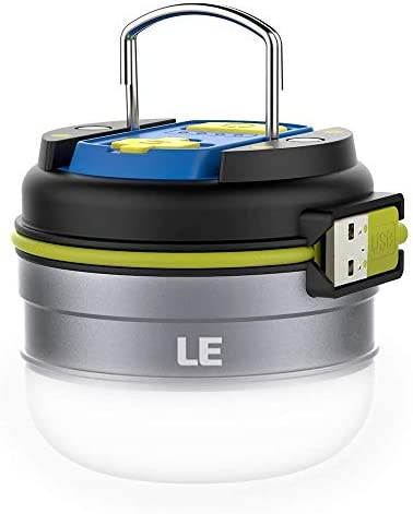 Lighting EVER 3300010-NW LE Linterna LED Camping USB Recargable, Luz Blanca Neutra 280lm, Función Powerbank 3000mAh, Resistente al Agua, con Gancho e Imanes, Men's, 70mm (Diámetro ) 63mm(Altura)