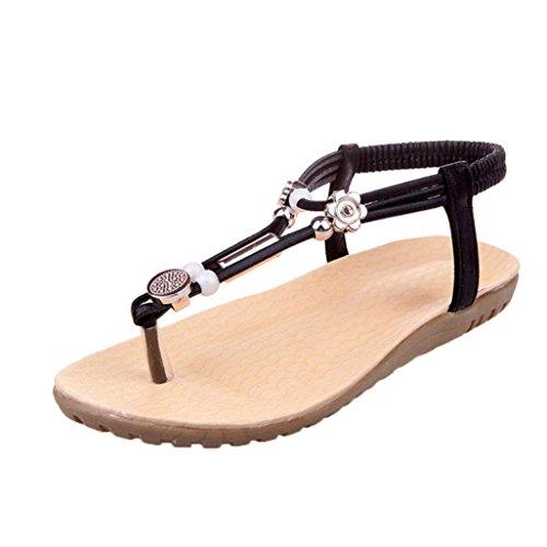 bescita Damen Frauen Sandalen Böhmen Ankle-Strap Flops Sommer Flache Schuhe Frau Schuhe Schwarz