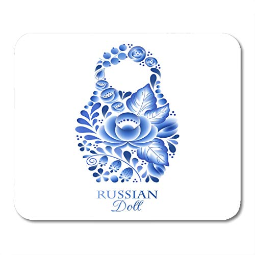 Boszina Mouse Pads Babushka Blue Souvenir Russian Nesting Doll Matrioshka Gzhel Style Symbol of Russia White Abstract Mouse Pad for notebooks,Desktop Computers mats 9.5