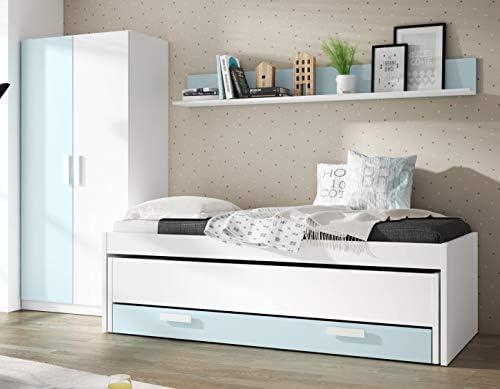 Pack de Muebles Dormitorio Juvenil Color Blanco y Azul ...