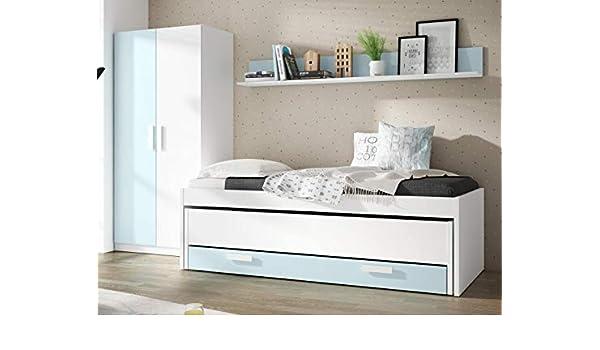 Pack de Muebles Dormitorio Juvenil Color Blanco y Azul (Cama Nido + Estante + Armario) Sin Somieres: Amazon.es: Hogar