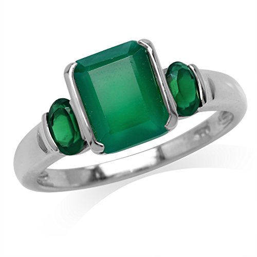 2.64ct. 3-Stone Natural Octagon Shape Emerald Green Agate 925 Sterling Silver Ring Size 8