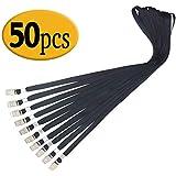 SzJias Black Lanyards 50PCS 33-inch Nylon Flat Lanyard with Badge Clip (Black)