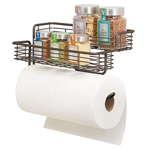 mDesign Wall Mounted Metal Paper Towel Roll Holder/Dispenser Rack Organizer with Two Tier Shelves for Glass Spice Bottles Jars for Kitchen and Pantry Storage - Bronze