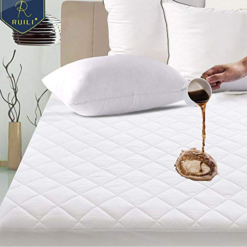 """Fitted Mattress Pad Cover protector Deep Pocket Stretches Up To 16/"""" Waterproof"""