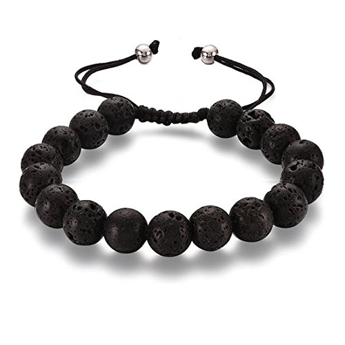 Beads Magnetic Bracelet (36 Different Styles for Choices Healing Energy Beads Stretch Bracelets,Lava Rock Magnetic Hematite Chakra Black Agate,Great Gifts for Women/Men/Patient/Athletes/Couples. (Lava rock))