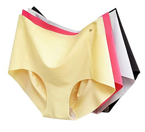 JIXUAN 4 Pack Womens Seamless Breathe Hipster Underwear Super Soft Modal Invisible Bikini Cotton Panties (XL)