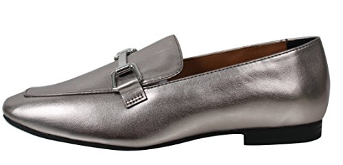 Stad Geclassificeerde Womens Gold Tone Horsebit Loafer Lage Hak Sandaal Tin