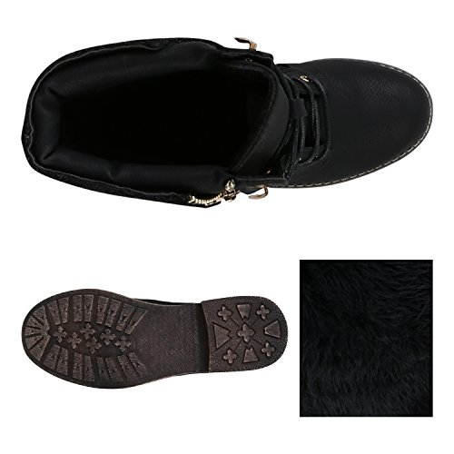 Stiefelparadies Damen Schnürstiefeletten Stiefeletten Worker Boots Kurzschaft-Stiefel Spitzenstoff Leder-Optik Schuhe Zipper Flandell Schwarz Spitze