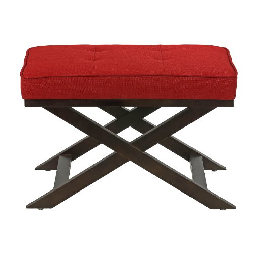 Cortesi Home Ari X Bench Ottoman in Linen Fabric with Espresso Wood Legs, Red For Sale