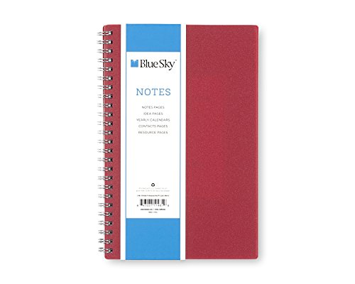 "Blue Sky ProNotes Notebook, Flexible Cover, Twin-Wire Binding, 5.5"" x 8"", Red"
