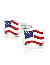 Bling Jewelry Stainless Steel Plated Waved USA Enamel United States American Flag Cufflinks