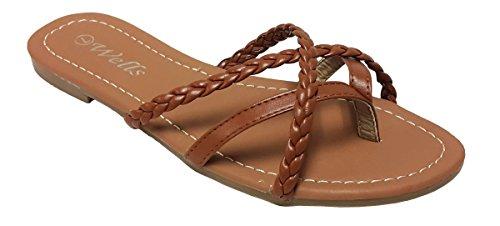 Elegant Womens Fashion Braided Criss Cross Strappy Tan Flip Flop Flat Sandals Tan 8 , M (Elegant Strappy Sandal)