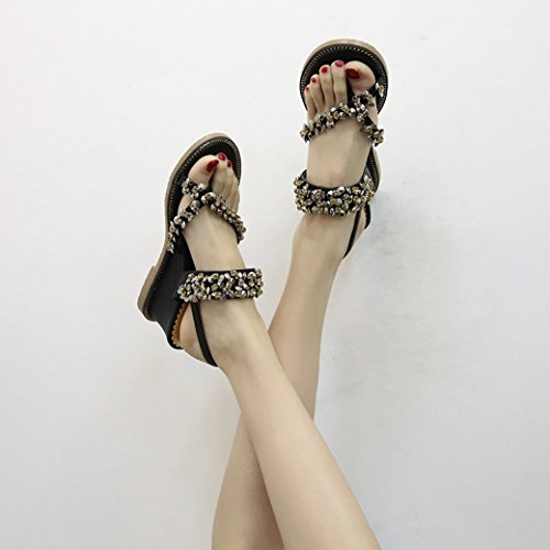 Shoes Sets Skid JUWOJIA negro Proof High High Heel Toe Water Shoes Wild and Foot Summer Female Sandals Drill Sandals Ow0UZOqH