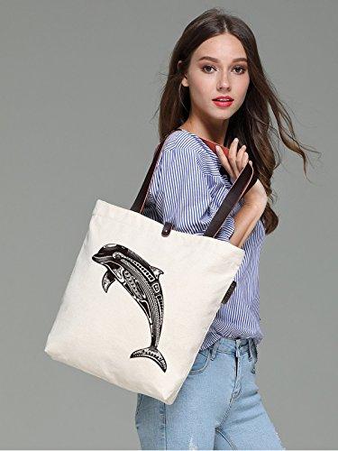 So'each Women's Marine Dolphin Graphic Canvas Handbag Tote Shoulder Bag