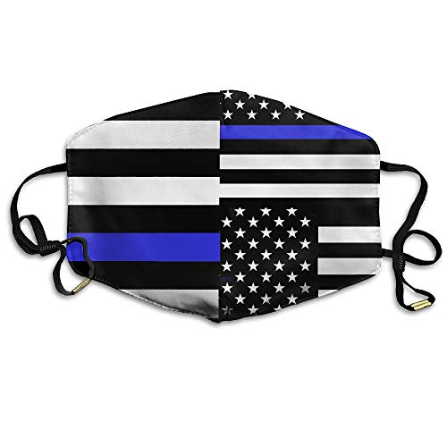 American Thin Blue Line Flag Seamless Unisex Face Mask Ear-loop Dust Protecting Mask Cycling Breathable Mask ()