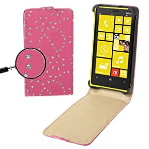 Diamond Encrusted Flower Pattern Vertical Con Tapa Piel Case Cover Carcasa Para Nokia Lumia 820 () Magenta