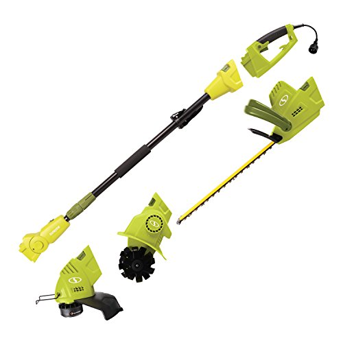 Sun Joe GTS4000E Lawn + Garden Multi-Tool System (Hedge + Pole Trimmer, Grass Trimmer, Garden Tiller) -