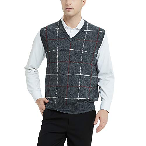 Kallspin Relaxed Fit Mens V-Neck Vest Knit Cashmere Sweater (Charcoal, M)
