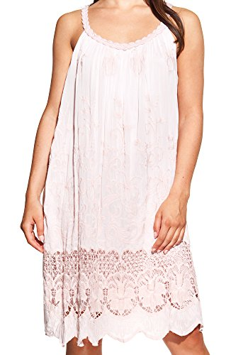 Laura Moretti - Vestido de seda con escote en U y bordados Rosa