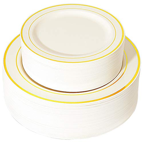 (WDF 102 pieces Gold Plastic Plates- Ivory with Gold Rim Disposable Party Wedding Plates,Premium Heavy Duty 51-10.25