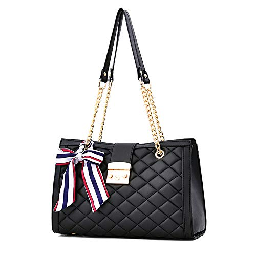 ToToDog Classic Metal Chain Quilted Purse for Women Crossbody Shoulder Bag PU Leather Handbag (Black) ()