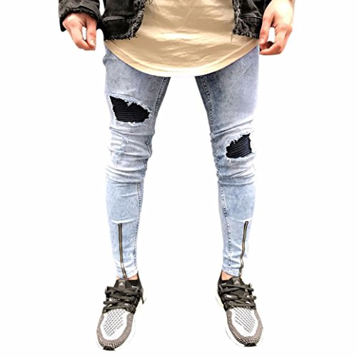 - Men Jeans Daoroka Men's Ripped Slim Fit Straight Denim Motorcycle with Broken Holes Younger-Looking Pants (32, Blue 4)